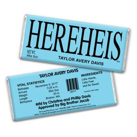 "Baby Boy Announcement Personalized Chocolate Bar - HEREHEIS ""Here He Is"" Blue"