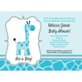 Baby Boy Safari Personalized Invitation (Each)
