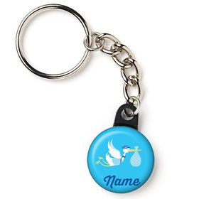"Baby Boy Stork Personalized 1"" Mini Key Chain (Each)"
