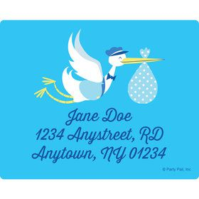 Baby Boy Stork Personalized Address Labels (Sheet of 15)