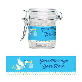 Baby Boy Stork Personalized Glass Apothecary Jars (10 Count)