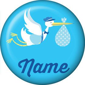 Baby Boy Stork Personalized Mini Button (Each)