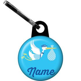 Baby Boy Stork Personalized Zipper Pull (Each)