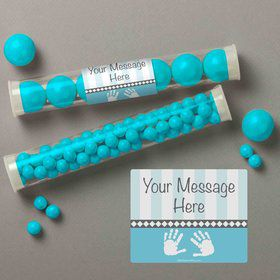 Baby Feet Blue Personalized Candy Tubes (12 Count)