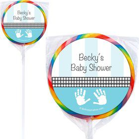 Baby Feet Blue Personalized Lollipops (12 Pack)