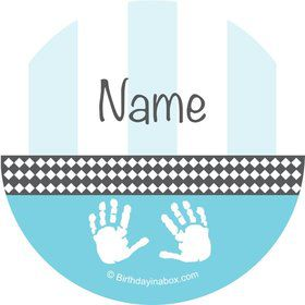 Baby Feet Blue Personalized Mini Stickers (Sheet of 20)
