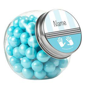 Baby Feet Blue Personalized Plain Glass Jars (10 Count)
