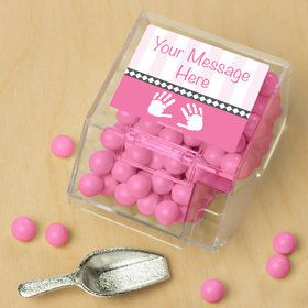 Baby Feet Pink Personalized Candy Bin with Candy Scoop (10 Count)