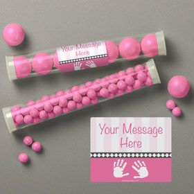 Baby Feet Pink Personalized Candy Tubes (12 Count)