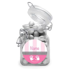 Baby Feet Pink Personalized Glass Apothecary Jars (12 Count)