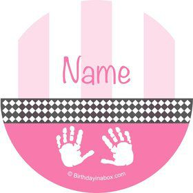 Baby Feet Pink Personalized Mini Stickers (Sheet of 20)