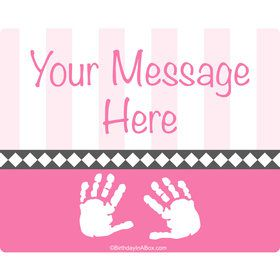 Baby Feet Pink Personalized Rectangular Stickers (Sheet of 15)