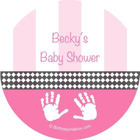 Baby Feet Pink Personalized Stickers (Sheet of 12)