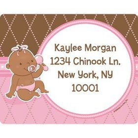 Baby Girl - African American Personalized Address Labels (sheet of 15)