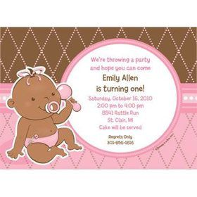 Baby Girl - African American Personalized Invitation (each)