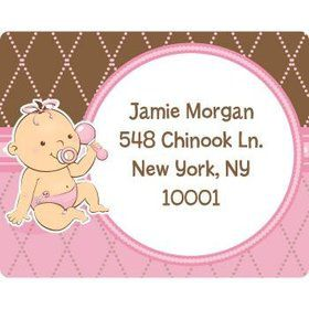 Baby Girl Personalized Address Labels (sheet of 15)