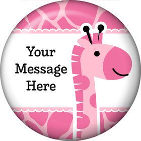 Baby Girl Safari Personalized Button (Each)