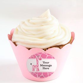 Baby Girl Safari Personalized Cupcake Wrappers (Set of 24)