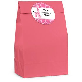 Baby Girl Safari Personalized Favor Bag (12 Pack)