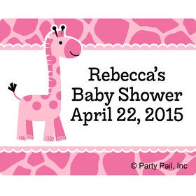 Baby Girl Safari Personalized Rectangular Stickers (Sheet of 15)