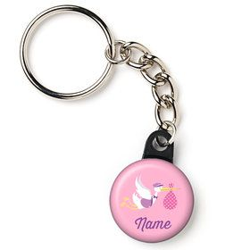 "Baby Girl Stork Personalized 1"" Mini Key Chain (Each)"