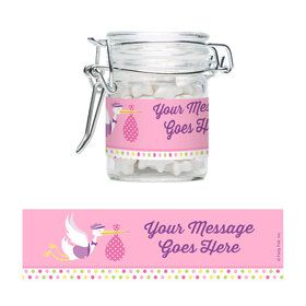 Baby Girl Stork Personalized Glass Apothecary Jars (10 Count)