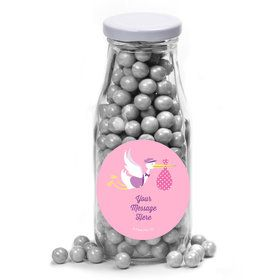 Baby Girl Stork Personalized Glass Milk Bottles (12 Count)