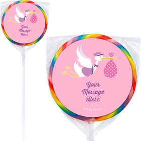 Baby Girl Stork Personalized Lollipops (12 Pack)