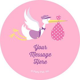 Baby Girl Stork Personalized Stickers (Sheet of 12)