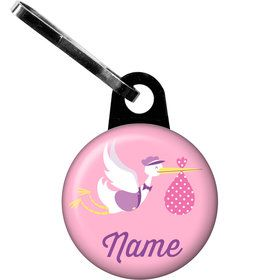 Baby Girl Stork Personalized Zipper Pull (Each)