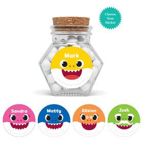 "Baby Shark - Choose Your Shark Personalized 3"" Glass Hexagon Jars"