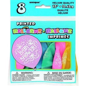 "Baby Shower 12"" Assorted Latex Balloons (8 Pack)"