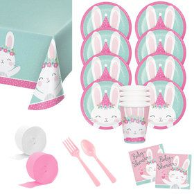 Baby Shower Bunny Deluxe Tableware Kit (Serves 8)