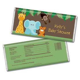 Baby Shower Personalized Chocolate Bar - Jungle Safari Animals