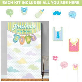 Baby Shower Personalized Photo Backdrop Kit