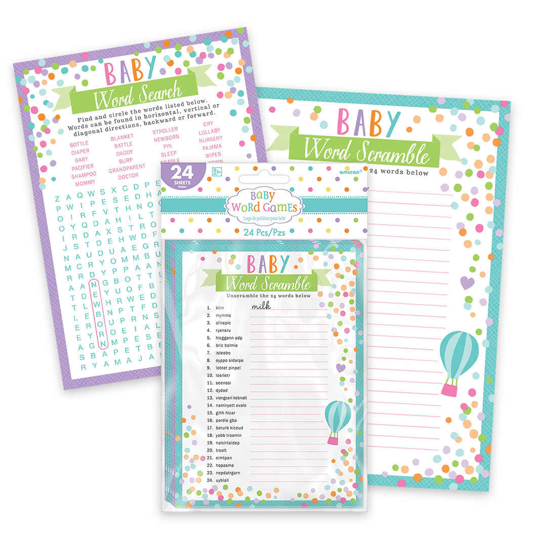 Baby Shower Word Games (Each) - Party Supplies