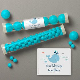 Baby Whale Blue Personalized Candy Tubes (12 Count)