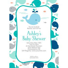 Baby Whale Blue Personalized Invitation (Each)