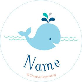 Baby Whale Blue Personalized Mini Stickers (Sheet of 24)