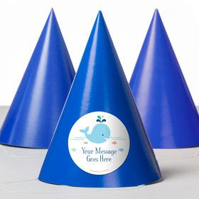 Baby Whale Blue Personalized Party Hats (8 Count)