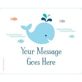 Baby Whale Blue Personalized Rectangular Stickers (Sheet of 15)