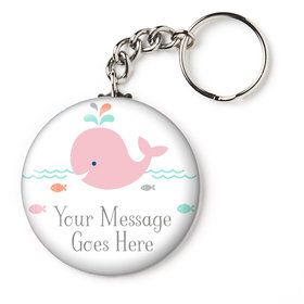 "Baby Whale Pink Personalized 2.25"" Key Chain (Each)"