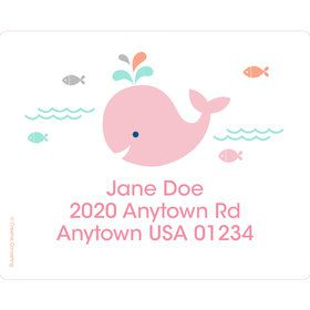 Baby Whale Pink Personalized Address Labels (Sheet of 15)