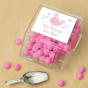 Baby Whale Pink Personalized Candy Bin with Candy Scoop (10 Count)