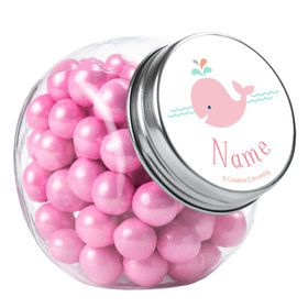 Baby Whale Pink Personalized Plain Glass Jars (12 Count)