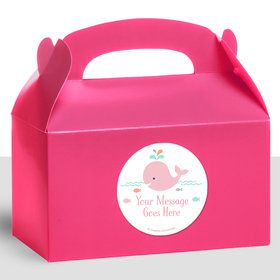 Baby Whale Pink Personalized Treat Favor Boxes (12 Count)