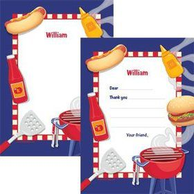 Backyard BBQ Personalized Thank You Note (each)