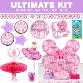 Ballerina Birthday Party Ultimate Tableware Kit Serves 8