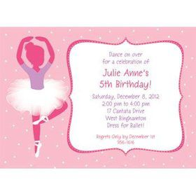 Ballerina Personalized Invitation (each)