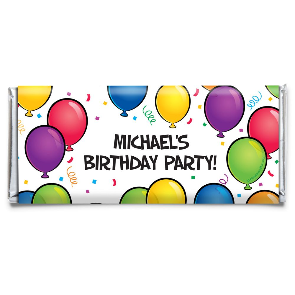 Balloon Fun Personalized Candy Bar Wrapper (Each) - Party Supplies BB700171CB